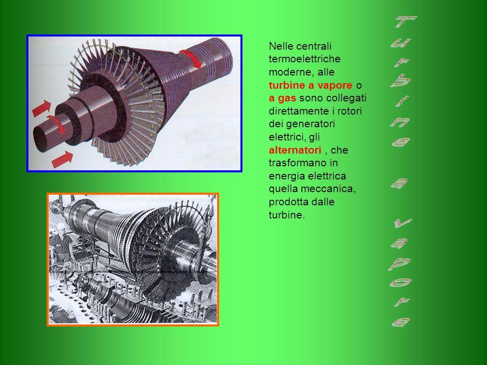 Nelle centrali termoelettriche moderne, alle turbine a vapore o a gas sono collegati direttamente i rotori dei generatori elettrici, gli alternatori,