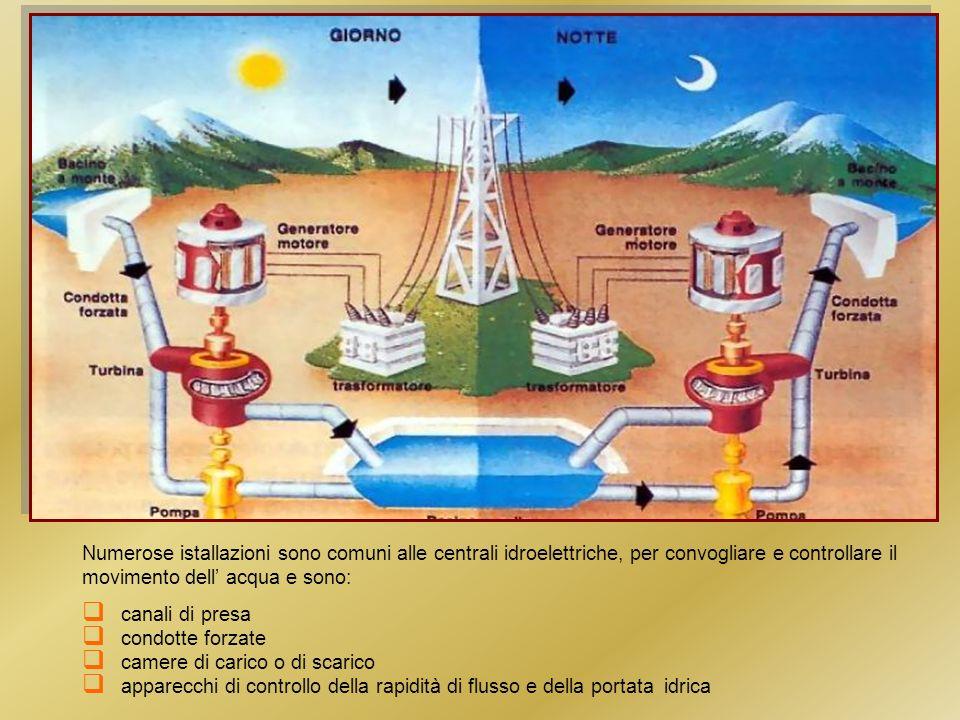 Numerose istallazioni sono comuni alle centrali idroelettriche, per convogliare e controllare il movimento dell acqua e sono: canali di presa condotte