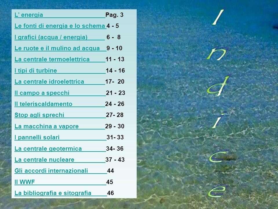 L energia L energia Pag. 3 Le fonti di energia e lo schema Le fonti di energia e lo schema 4 - 5 I grafici (acqua / energia) I grafici (acqua / energi