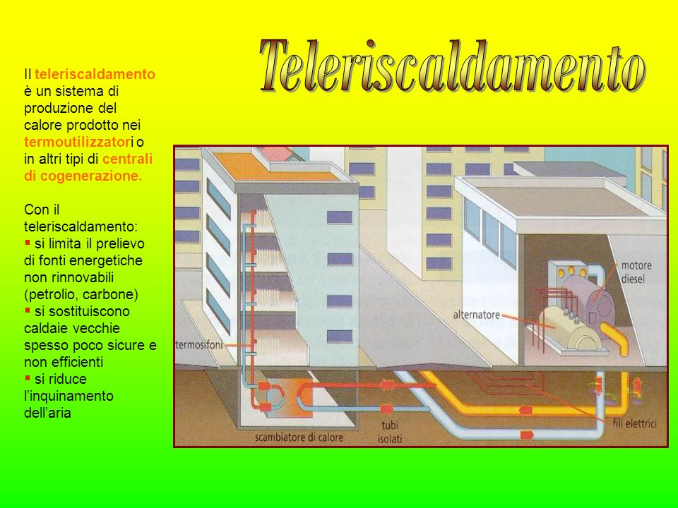 Il teleriscaldamento è un sistema di produzione del calore prodotto nei termoutilizzatori o in altri tipi di centrali di cogenerazione. Con il teleris