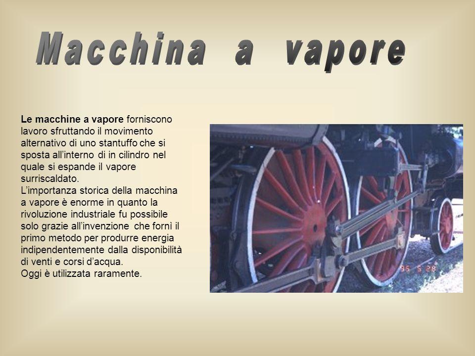 Le macchine a vapore forniscono lavoro sfruttando il movimento alternativo di uno stantuffo che si sposta allinterno di in cilindro nel quale si espan