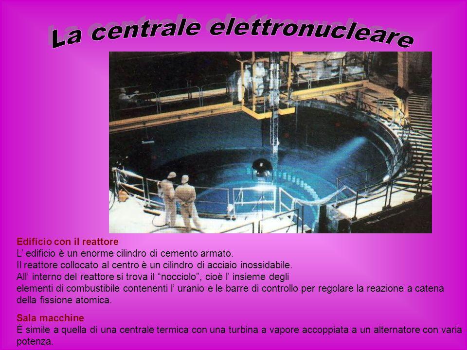 Edificio con il reattore L edificio è un enorme cilindro di cemento armato. Il reattore collocato al centro è un cilindro di acciaio inossidabile. All