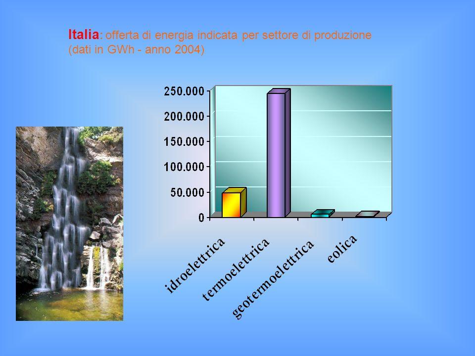 Italia : offerta di energia indicata per settore di produzione (dati in GWh - anno 2004)