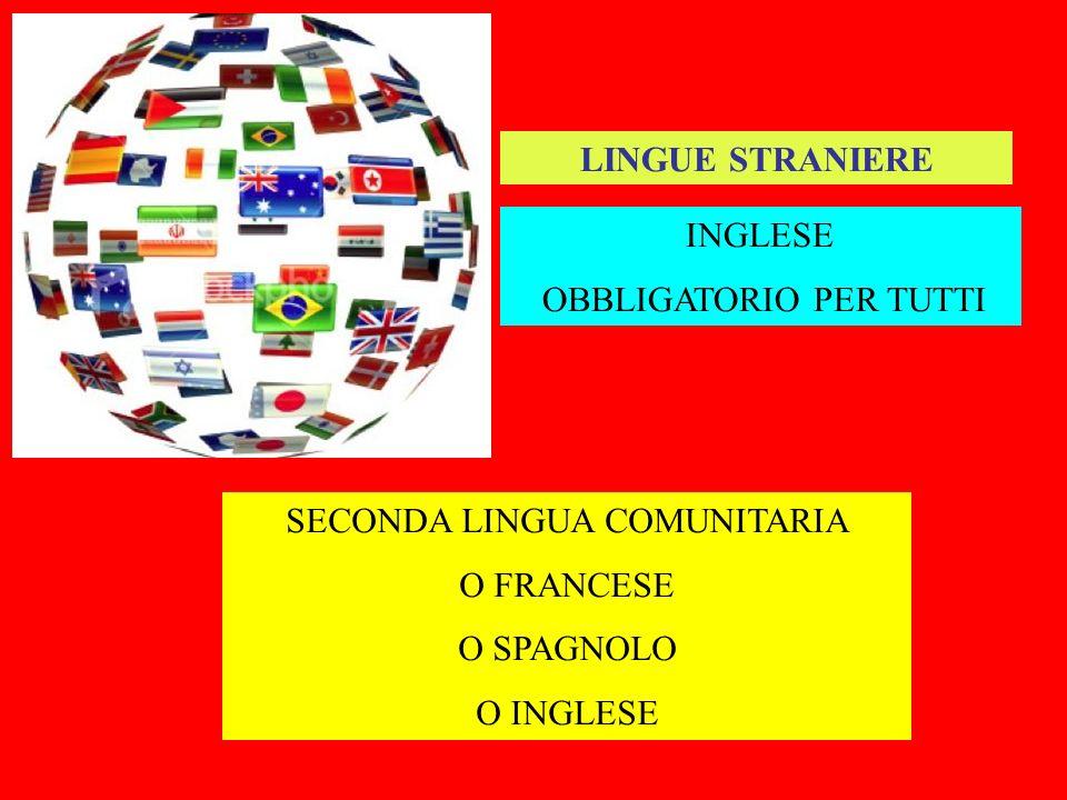 LINGUE STRANIERE INGLESE OBBLIGATORIO PER TUTTI SECONDA LINGUA COMUNITARIA O FRANCESE O SPAGNOLO O INGLESE