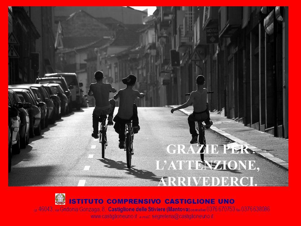 ISTITUTO COMPRENSIVO CASTIGLIONE UNO cp 46043, via Gridonia Gonzaga, 8, Castiglione delle Stiviere (Mantova ) centralino 0376 670753 fax 0376 638086 www.castiglioneuno.it e-mail : segreteria@castiglioneuno.it GRAZIE PER LATTENZIONE, ARRIVEDERCI.