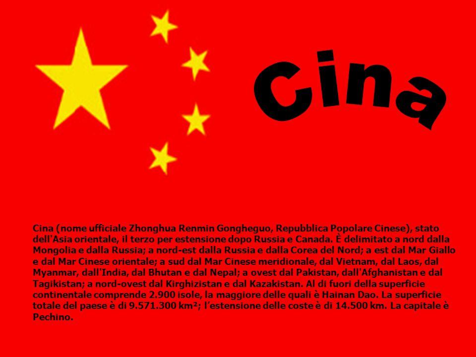 Cina (nome ufficiale Zhonghua Renmin Gongheguo, Repubblica Popolare Cinese), stato dell'Asia orientale, il terzo per estensione dopo Russia e Canada.