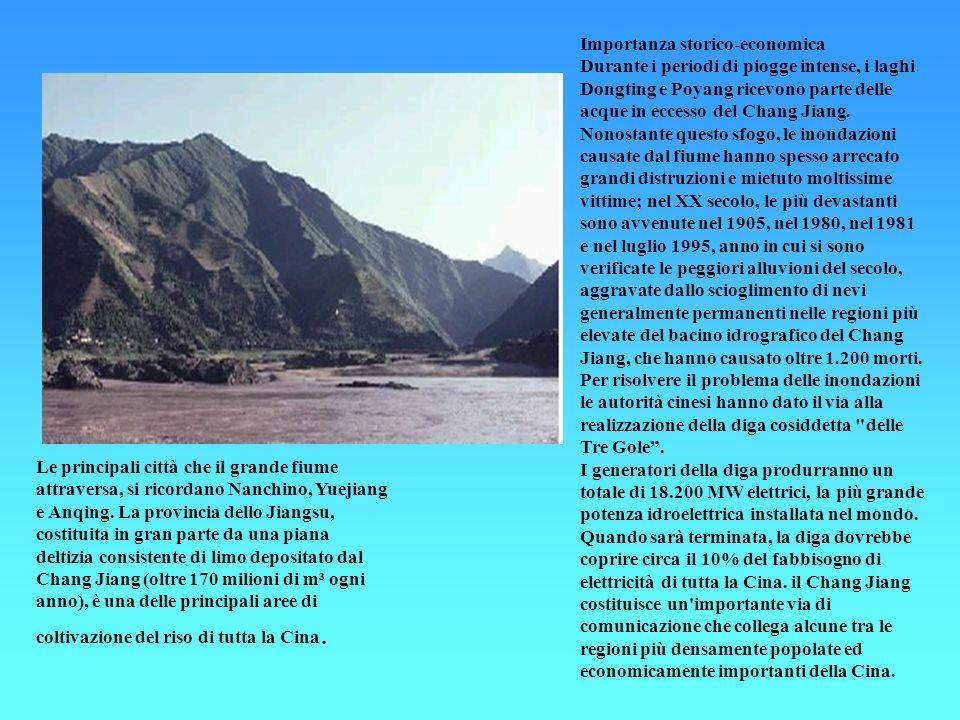 Importanza storico-economica Durante i periodi di piogge intense, i laghi Dongting e Poyang ricevono parte delle acque in eccesso del Chang Jiang. Non