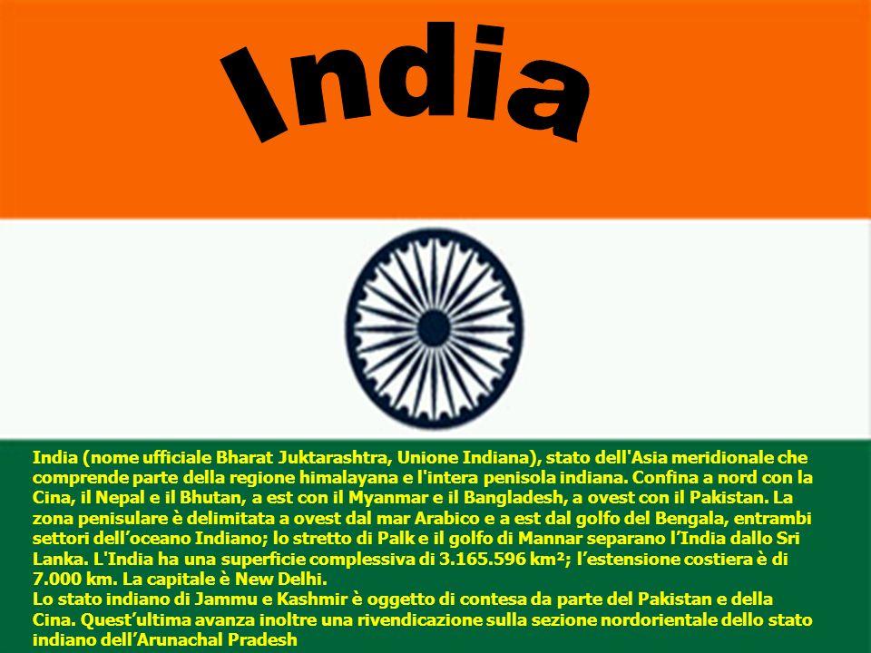 India (nome ufficiale Bharat Juktarashtra, Unione Indiana), stato dell'Asia meridionale che comprende parte della regione himalayana e l'intera peniso
