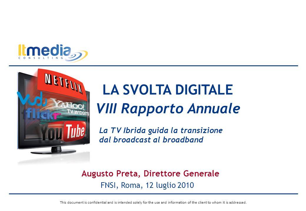 Roma, 12 luglio 2010La Svolta Digitale, VIII Rapporto Annuale, FNSI, Roma, 12 luglio 2010 10 Il mercato TV Multichannel Nonostante la crisi economica, nel 2009 il numero di canali tematici continua a crescere e a registrare un impatto significativo sulla struttura dei ricavi dellindustria televisiva.