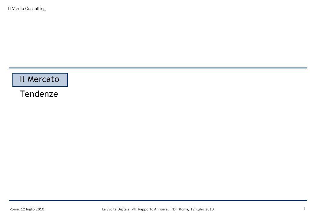 Roma, 12 luglio 2010La Svolta Digitale, VIII Rapporto Annuale, FNSI, Roma, 12 luglio 2010 21 I Widget TV: opportunità per i broadcaster TV Interazione con la programmazione trasmessa Potenziamento del brand televisivo Estensione della relazione con il consumatore Crescita del tasso di utilizzo Opportunità per i ricavi pubblicitari Tecniche di Cross-selling Raccolta di informazioni dettagliate del cliente Attrazione di nuovi abbonati Conservazione della propria base abbonati Viral promotion tramite il social network Widget TV
