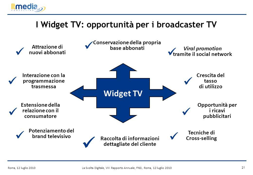 Roma, 12 luglio 2010La Svolta Digitale, VIII Rapporto Annuale, FNSI, Roma, 12 luglio 2010 20 I Widget TV Le applicazioni mobili (Es.