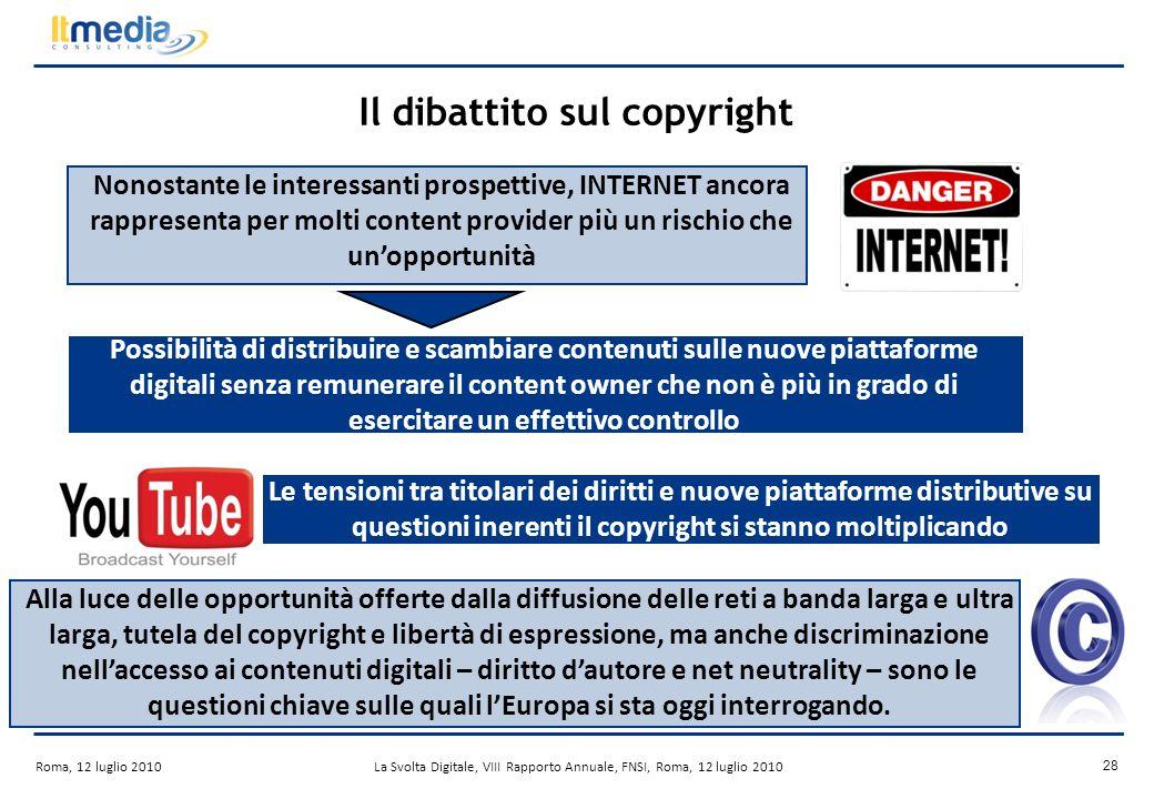 Roma, 12 luglio 2010La Svolta Digitale, VIII Rapporto Annuale, FNSI, Roma, 12 luglio 2010 27 Success stories: iPlayer Fonte: BBC Lancio: 2007 Business Model: finanziamento del canone