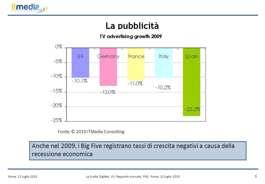 Roma, 12 luglio 2010La Svolta Digitale, VIII Rapporto Annuale, FNSI, Roma, 12 luglio 2010 15 LIPTV in Europa Gli ultimi 12 mesi sono stati caratterizzati da unaccelerazione nella diffusione dellIPTV, che rappresenta la piattaforma a pagamento a più rapida crescita.
