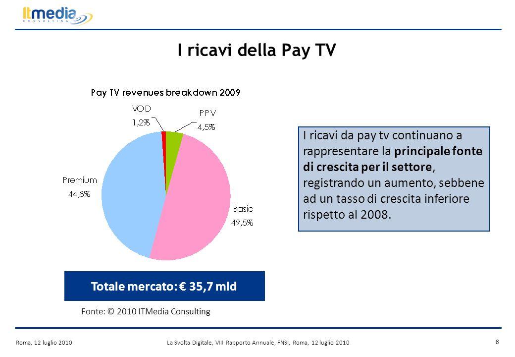 Roma, 12 luglio 2010La Svolta Digitale, VIII Rapporto Annuale, FNSI, Roma, 12 luglio 2010 6 I ricavi della Pay TV Totale mercato: 35,7 mld I ricavi da pay tv continuano a rappresentare la principale fonte di crescita per il settore, registrando un aumento, sebbene ad un tasso di crescita inferiore rispetto al 2008.