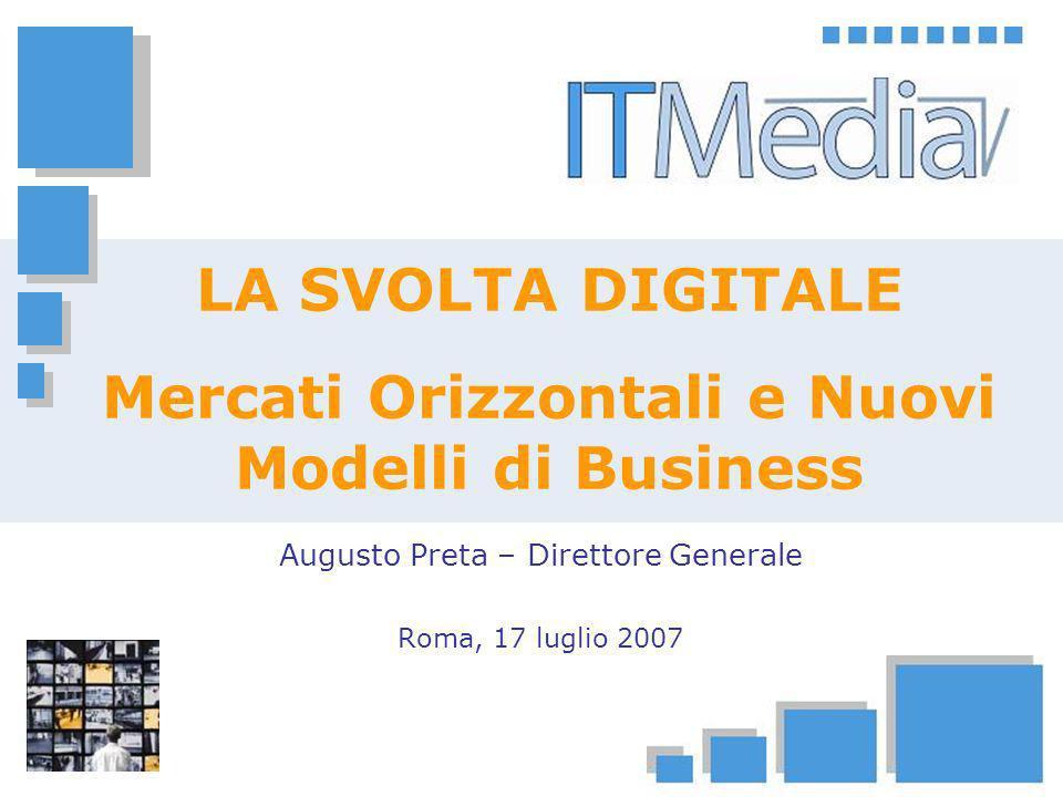 La Svolta Digitale: Mercati Orizzontali e Nuovi Modelli di Business Roma, 17 luglio 2007 12 Nuovi modelli di business Ricavi Retail Ricavi Wholesale MERCATI ORIZZONTALI CONTENUTI MULTI-PIATTAFORMA FTA TV DOUBLE PLAY ANALOGICO PAY TV MOBILE TV (DVB-H) SINGLE PLAY DIGITALE Fonte: © 2007 ITMedia Consulting MERCATI ORIZZONTALI CONTENUTI MULTI- PIATTAFORMA CONVERGENZA TRIPLE PLAY IP TV PAY TV MOBILE TV FTA TV MERCATI VERTICALI - ESCLUSIVE MULTI-PIATTAFORMA