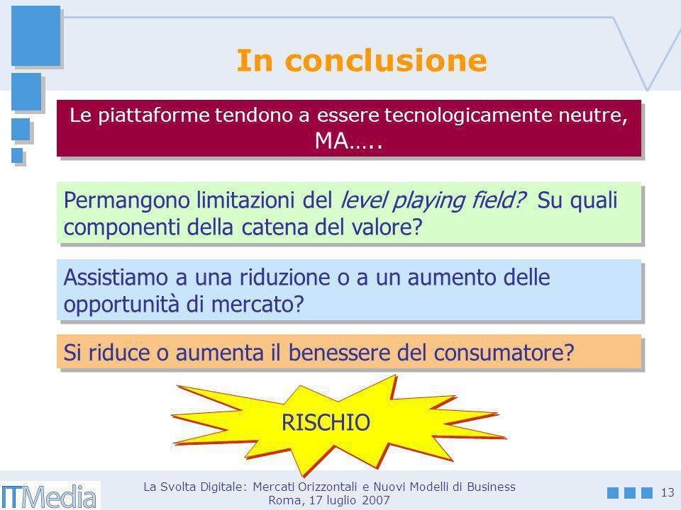 La Svolta Digitale: Mercati Orizzontali e Nuovi Modelli di Business Roma, 17 luglio 2007 13 In conclusione Le piattaforme tendono a essere tecnologicamente neutre, MA…..
