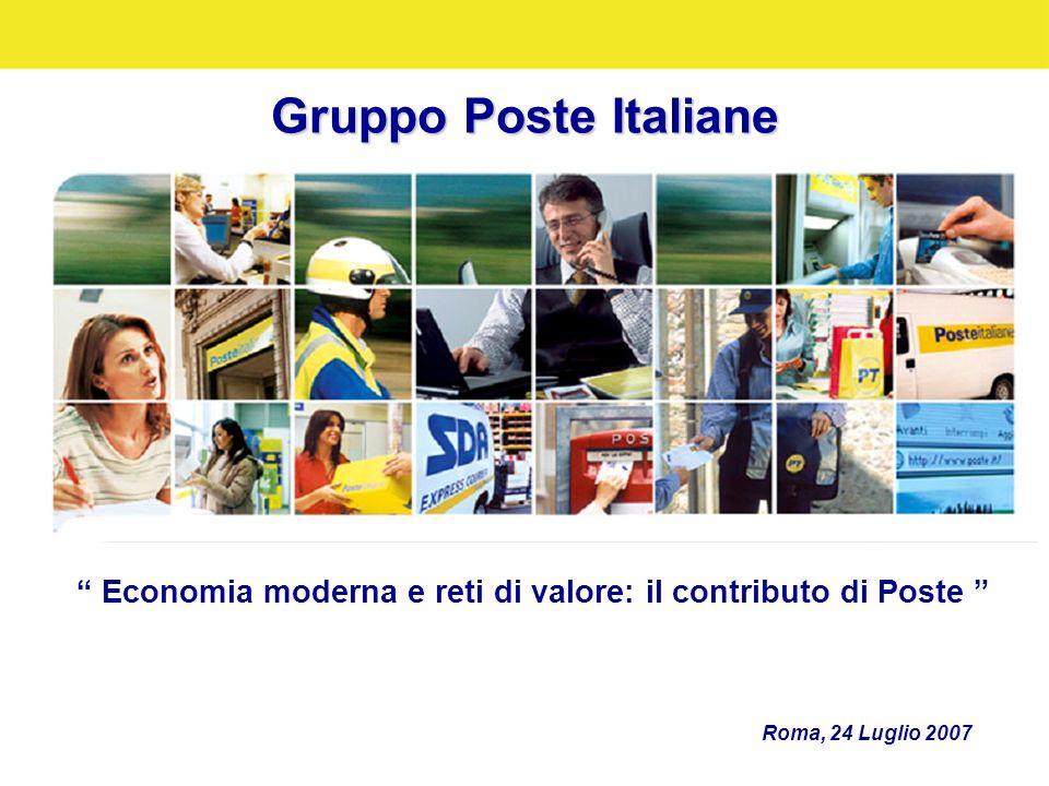 Gruppo Poste Italiane Roma, 24 Luglio 2007 Economia moderna e reti di valore: il contributo di Poste