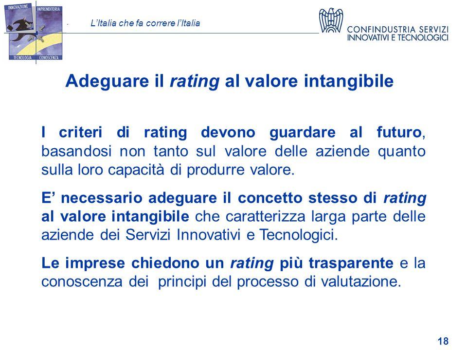 LItalia che fa correre lItalia 18 Adeguare il rating al valore intangibile valore I criteri di rating devono guardare al futuro, basandosi non tanto sul valore delle aziende quanto sulla loro capacità di produrre valore.