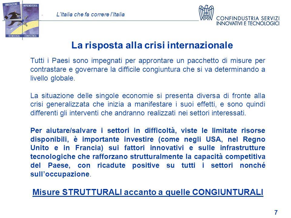 LItalia che fa correre lItalia 7 Tutti i Paesi sono impegnati per approntare un pacchetto di misure per contrastare e governare la difficile congiuntura che si va determinando a livello globale.