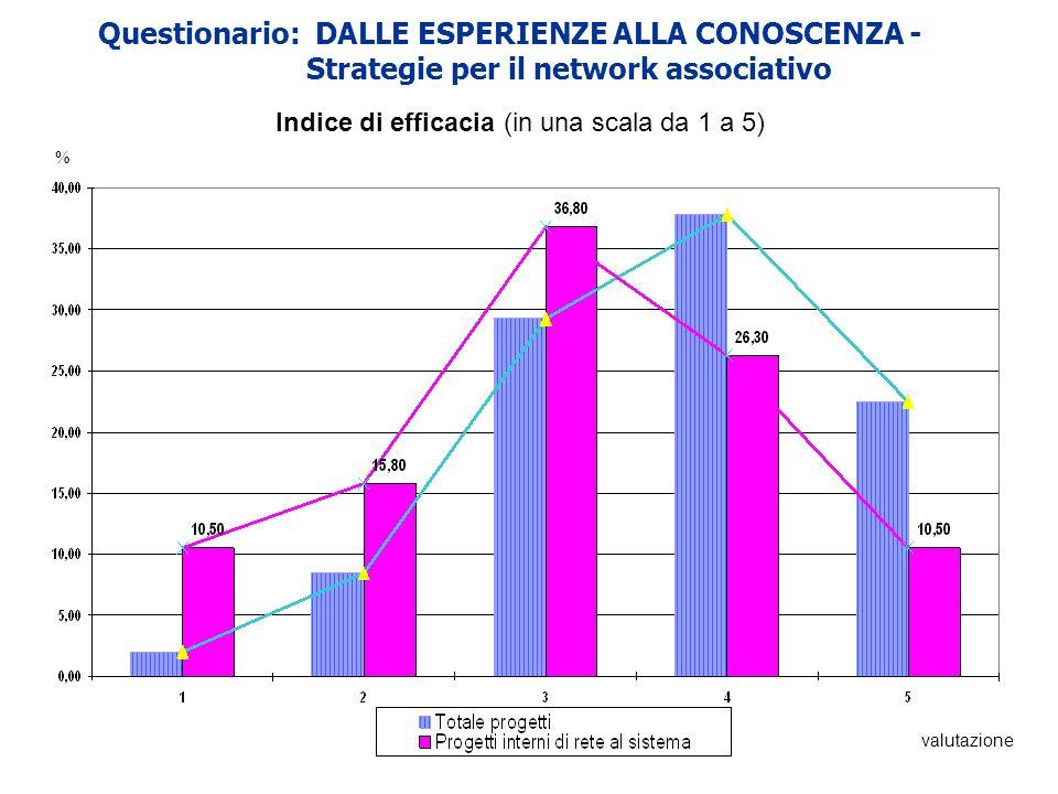 Questionario: DALLE ESPERIENZE ALLA CONOSCENZA - Strategie per il network associativo Indice di efficacia (in una scala da 1 a 5) % valutazione