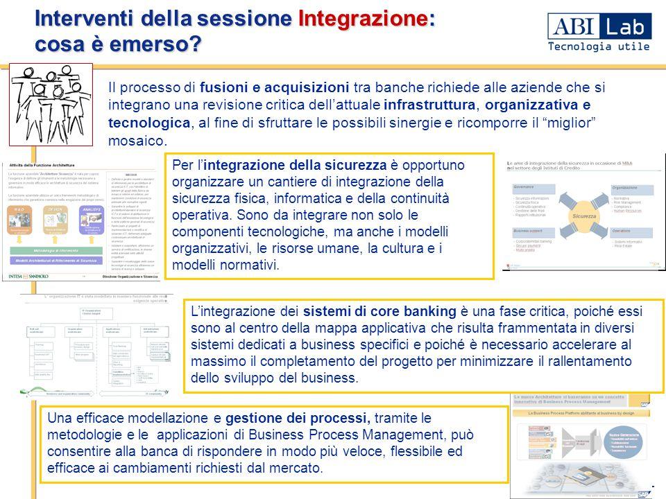 - 3 - Interventi della sessione Integrazione: cosa è emerso? Una efficace modellazione e gestione dei processi, tramite le metodologie e le applicazio