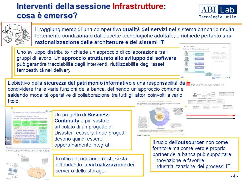 - 4 - Interventi della sessione Infrastrutture: cosa è emerso? Il raggiungimento di una competitiva qualità dei servizi nel sistema bancario risulta f