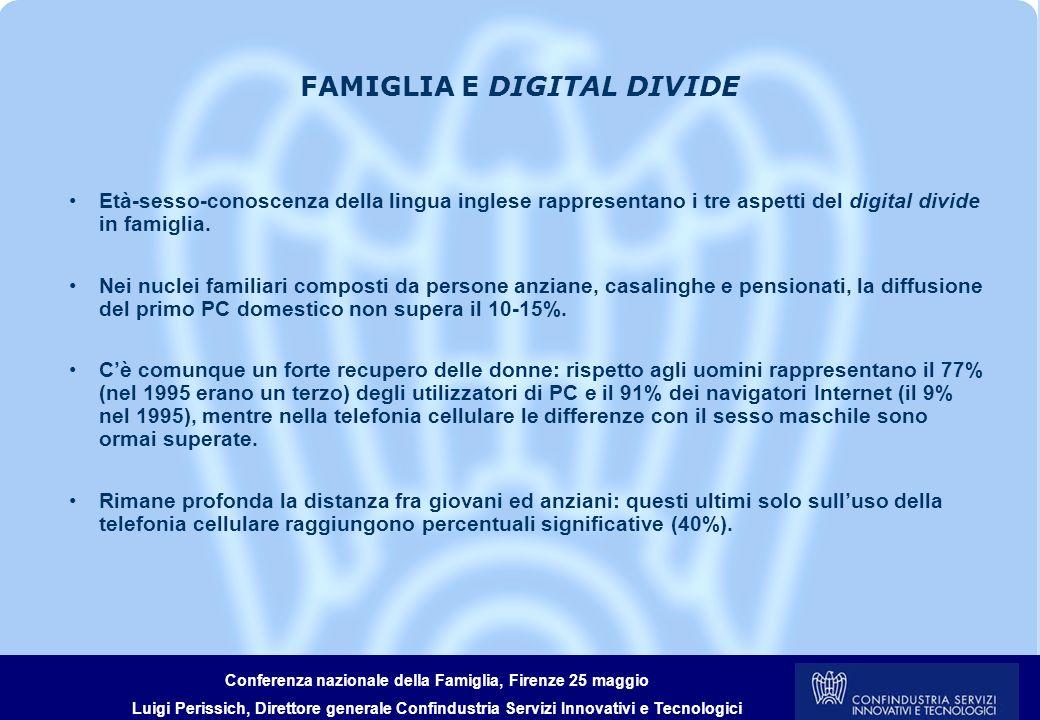 Conferenza nazionale della Famiglia, Firenze 25 maggio Luigi Perissich, Direttore generale Confindustria Servizi Innovativi e Tecnologici LA FAMIGLIA: SOGGETTO DI INNOVAZIONE Il perimetro domestico contribuisce in maniera attiva e partecipata, anche in termini di spesa, ai processi innovativi della convergenza digitale.