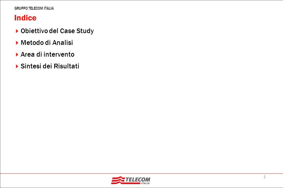 1 GRUPPO TELECOM ITALIA Indice Obiettivo del Case Study Metodo di Analisi Area di intervento Sintesi dei Risultati
