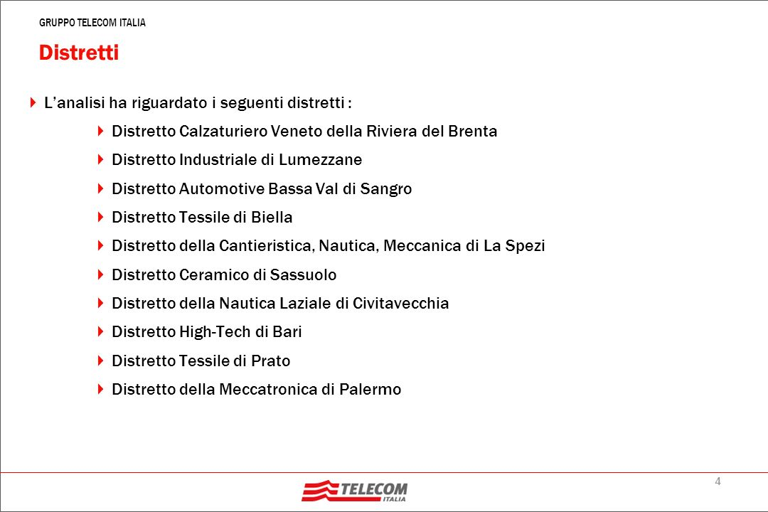 4 GRUPPO TELECOM ITALIA Distretti Lanalisi ha riguardato i seguenti distretti : Distretto Calzaturiero Veneto della Riviera del Brenta Distretto Industriale di Lumezzane Distretto Automotive Bassa Val di Sangro Distretto Tessile di Biella Distretto della Cantieristica, Nautica, Meccanica di La Spezi Distretto Ceramico di Sassuolo Distretto della Nautica Laziale di Civitavecchia Distretto High-Tech di Bari Distretto Tessile di Prato Distretto della Meccatronica di Palermo