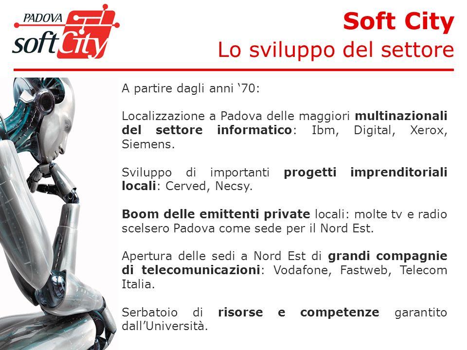 Soft City Lo sviluppo del settore A partire dagli anni 70: Localizzazione a Padova delle maggiori multinazionali del settore informatico: Ibm, Digital, Xerox, Siemens.