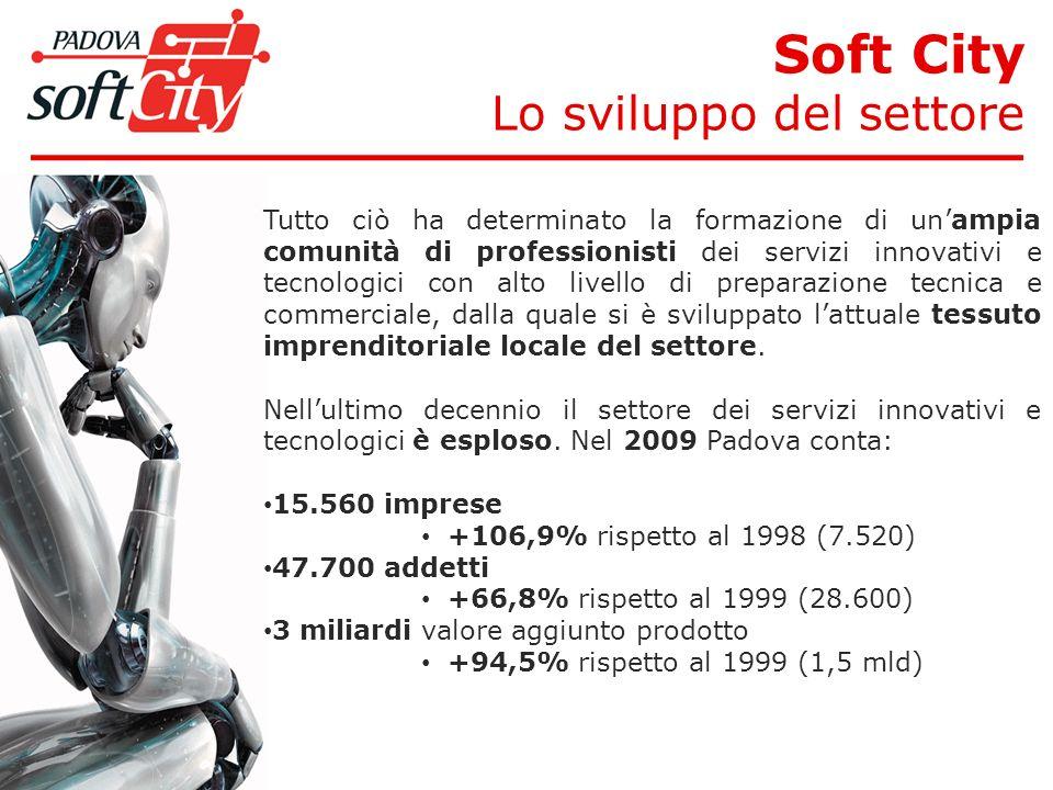 Soft City Lo sviluppo del settore Tutto ciò ha determinato la formazione di unampia comunità di professionisti dei servizi innovativi e tecnologici con alto livello di preparazione tecnica e commerciale, dalla quale si è sviluppato lattuale tessuto imprenditoriale locale del settore.