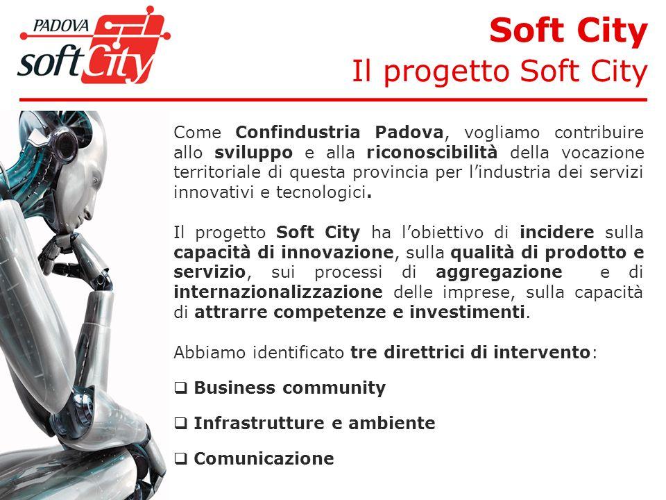 Soft City Il progetto Soft City Come Confindustria Padova, vogliamo contribuire allo sviluppo e alla riconoscibilità della vocazione territoriale di questa provincia per lindustria dei servizi innovativi e tecnologici.