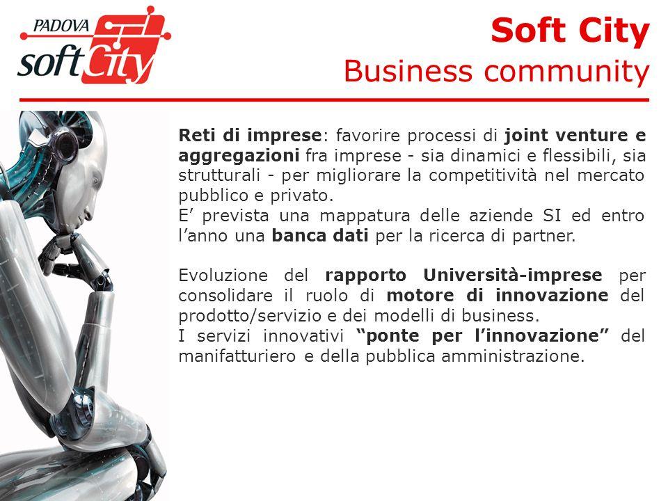 Soft City Business community Reti di imprese: favorire processi di joint venture e aggregazioni fra imprese - sia dinamici e flessibili, sia strutturali - per migliorare la competitività nel mercato pubblico e privato.