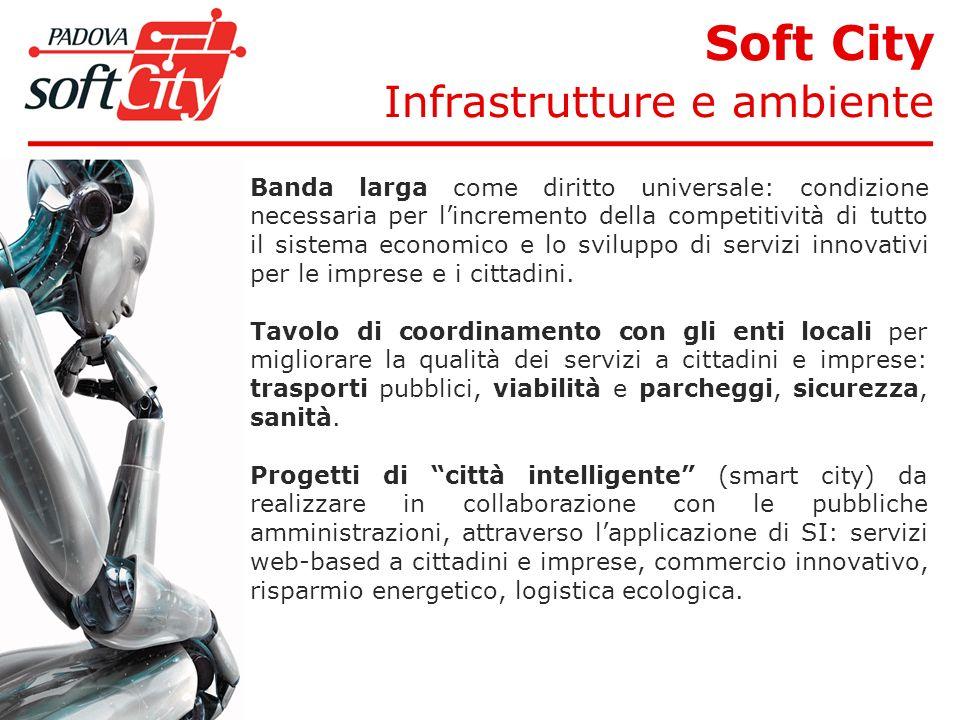 Soft City Infrastrutture e ambiente Banda larga come diritto universale: condizione necessaria per lincremento della competitività di tutto il sistema economico e lo sviluppo di servizi innovativi per le imprese e i cittadini.