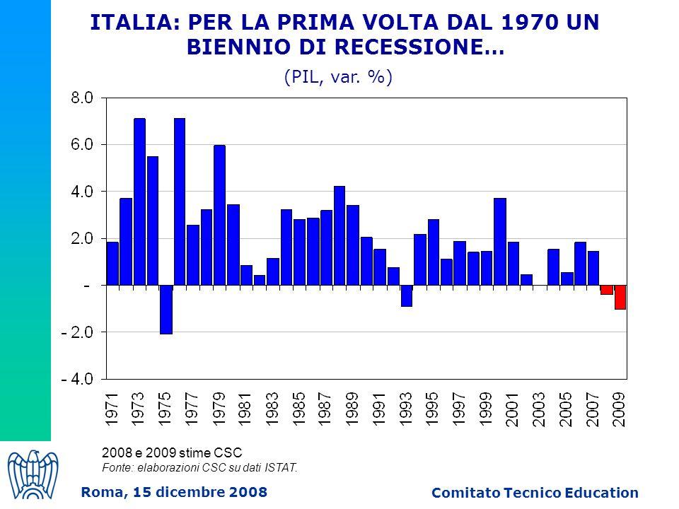 2008 e 2009 stime CSC Fonte: elaborazioni CSC su dati ISTAT.
