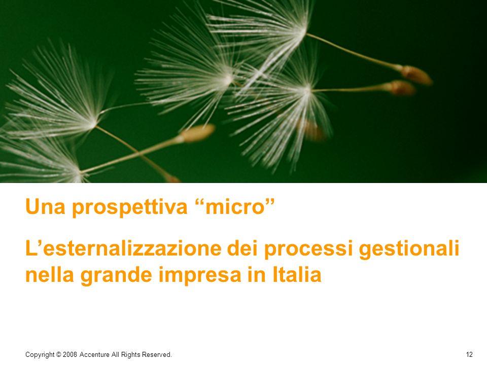 12 Copyright © 2008 Accenture All Rights Reserved. Una prospettiva micro Lesternalizzazione dei processi gestionali nella grande impresa in Italia