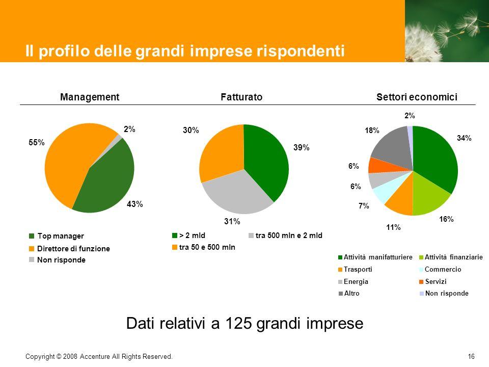 16 Copyright © 2008 Accenture All Rights Reserved. Il profilo delle grandi imprese rispondenti Dati relativi a 125 grandi imprese Management 43% 55% 2