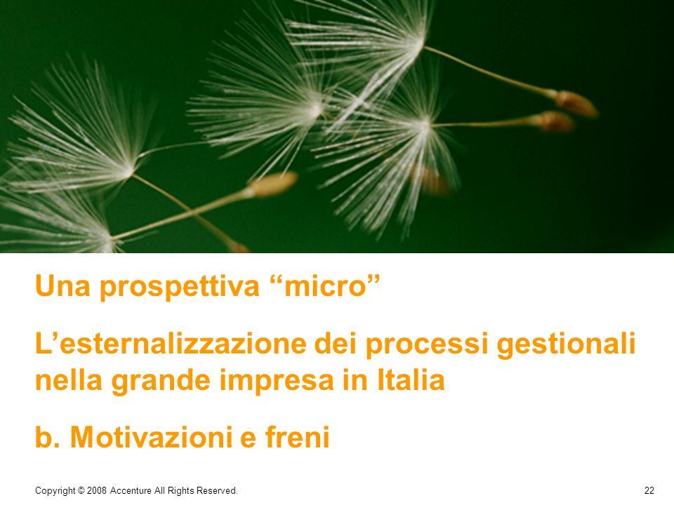 22 Copyright © 2008 Accenture All Rights Reserved. Una prospettiva micro Lesternalizzazione dei processi gestionali nella grande impresa in Italia b.