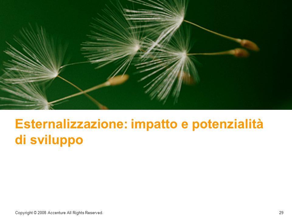 29 Copyright © 2008 Accenture All Rights Reserved. Esternalizzazione: impatto e potenzialità di sviluppo