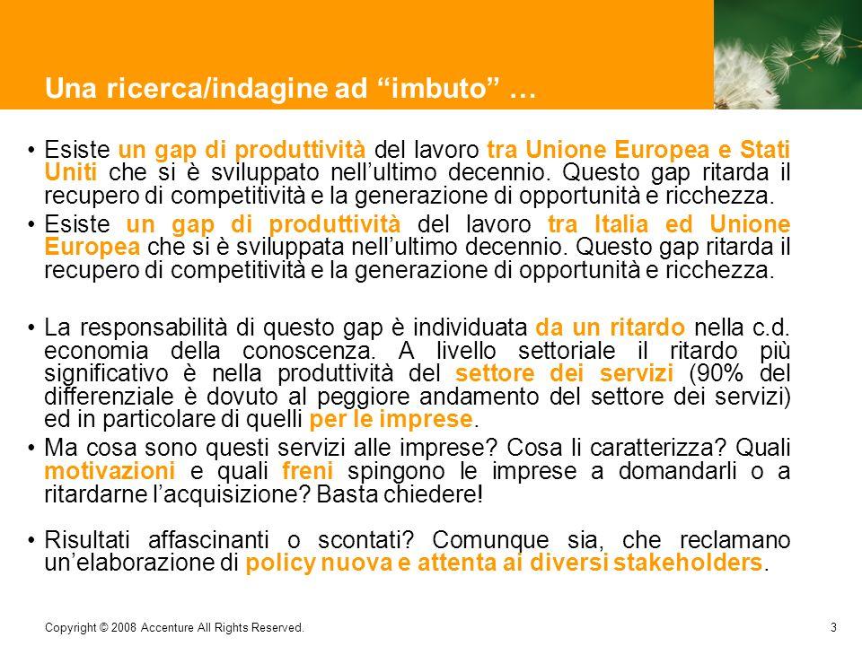 3 Copyright © 2008 Accenture All Rights Reserved. Una ricerca/indagine ad imbuto … Esiste un gap di produttività del lavoro tra Unione Europea e Stati