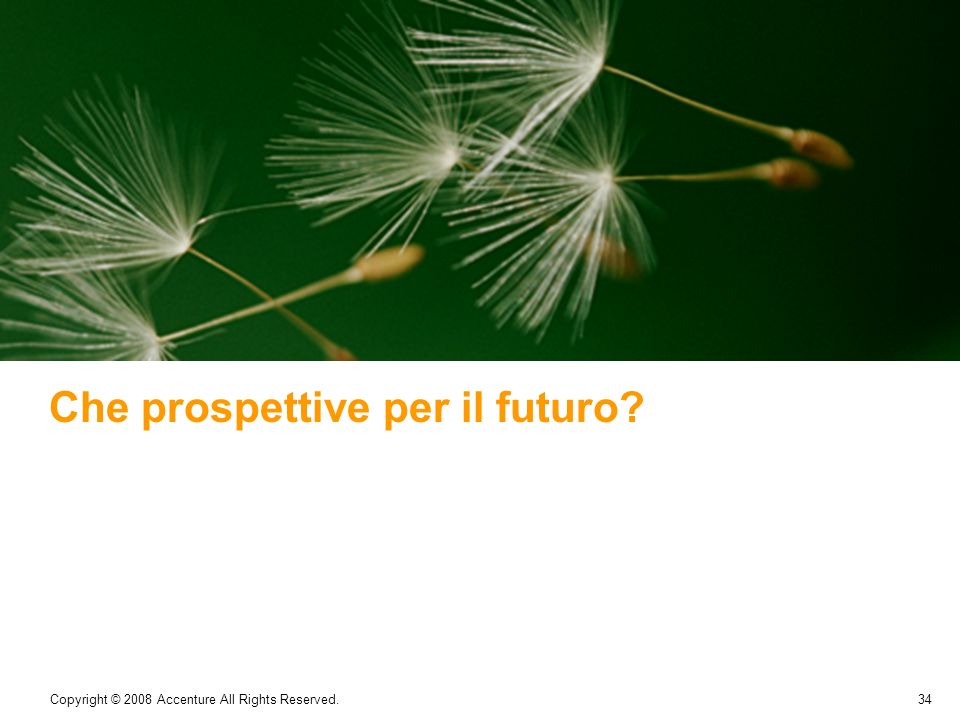 34 Copyright © 2008 Accenture All Rights Reserved. Che prospettive per il futuro?