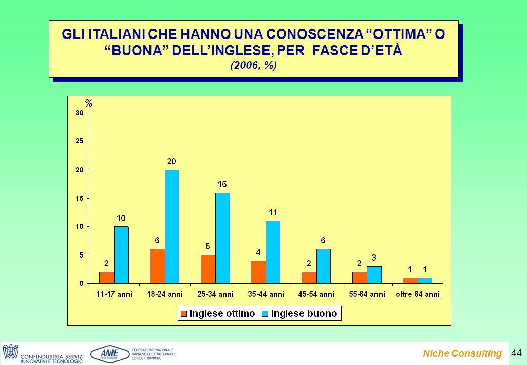 Presentazione del Rapporto e-Family 2007 Niche Consulting 44 GLI ITALIANI CHE HANNO UNA CONOSCENZA OTTIMA O BUONA DELLINGLESE, PER FASCE DETÀ (2006, %) GLI ITALIANI CHE HANNO UNA CONOSCENZA OTTIMA O BUONA DELLINGLESE, PER FASCE DETÀ (2006, %)