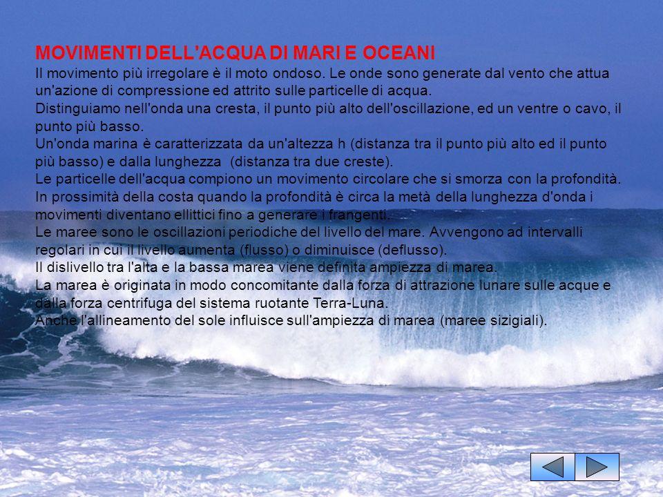 MOVIMENTI DELL'ACQUA DI MARI E OCEANI Il movimento più irregolare è il moto ondoso. Le onde sono generate dal vento che attua un'azione di compression