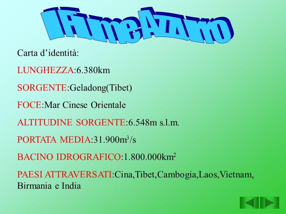 Carta didentità: LUNGHEZZA:6.380km SORGENTE:Geladong(Tibet) FOCE:Mar Cinese Orientale ALTITUDINE SORGENTE:6.548m s.l.m. PORTATA MEDIA:31.900m 3 /s BAC