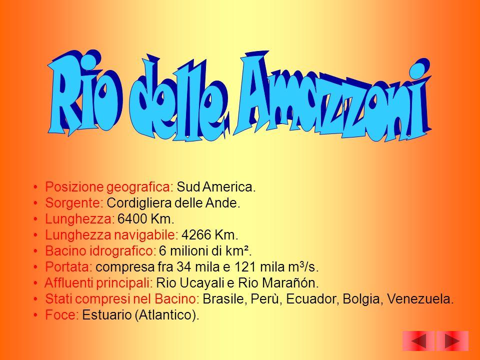 Posizione geografica: Sud America. Sorgente: Cordigliera delle Ande. Lunghezza: 6400 Km. Lunghezza navigabile: 4266 Km. Bacino idrografico: 6 milioni