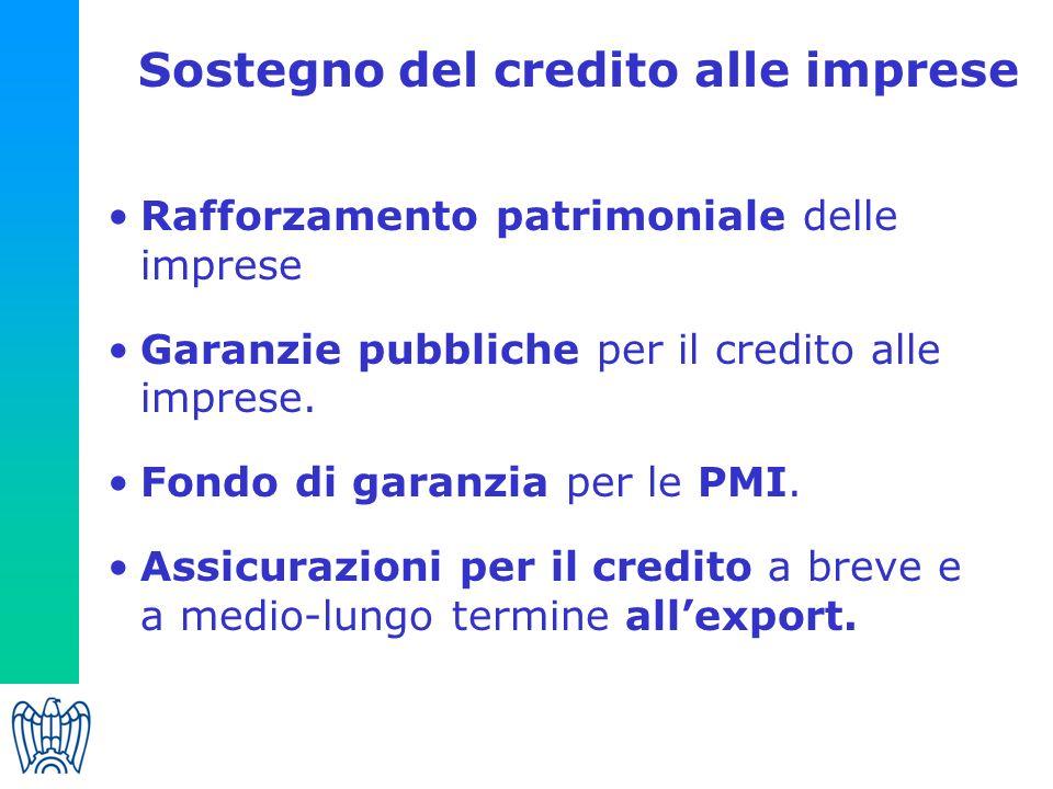 Sostegno del credito alle imprese Rafforzamento patrimoniale delle imprese Garanzie pubbliche per il credito alle imprese.
