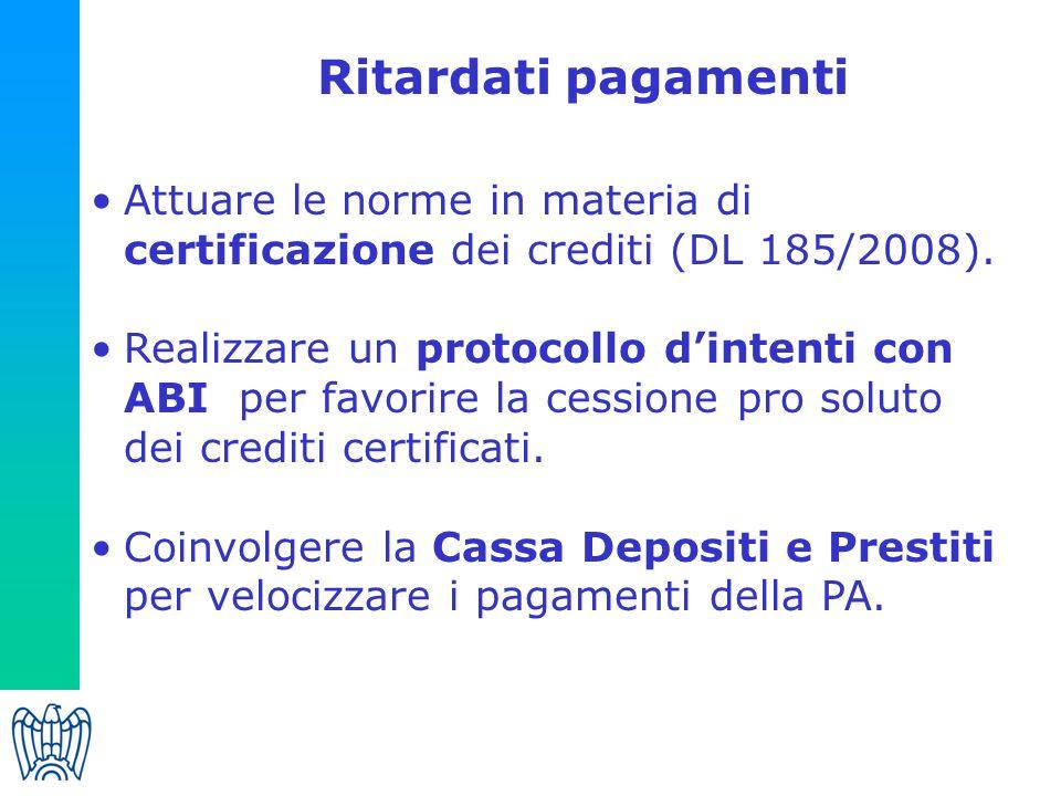 Ritardati pagamenti Attuare le norme in materia di certificazione dei crediti (DL 185/2008).