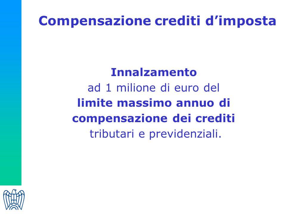 Compensazione crediti dimposta Innalzamento ad 1 milione di euro del limite massimo annuo di compensazione dei crediti tributari e previdenziali.