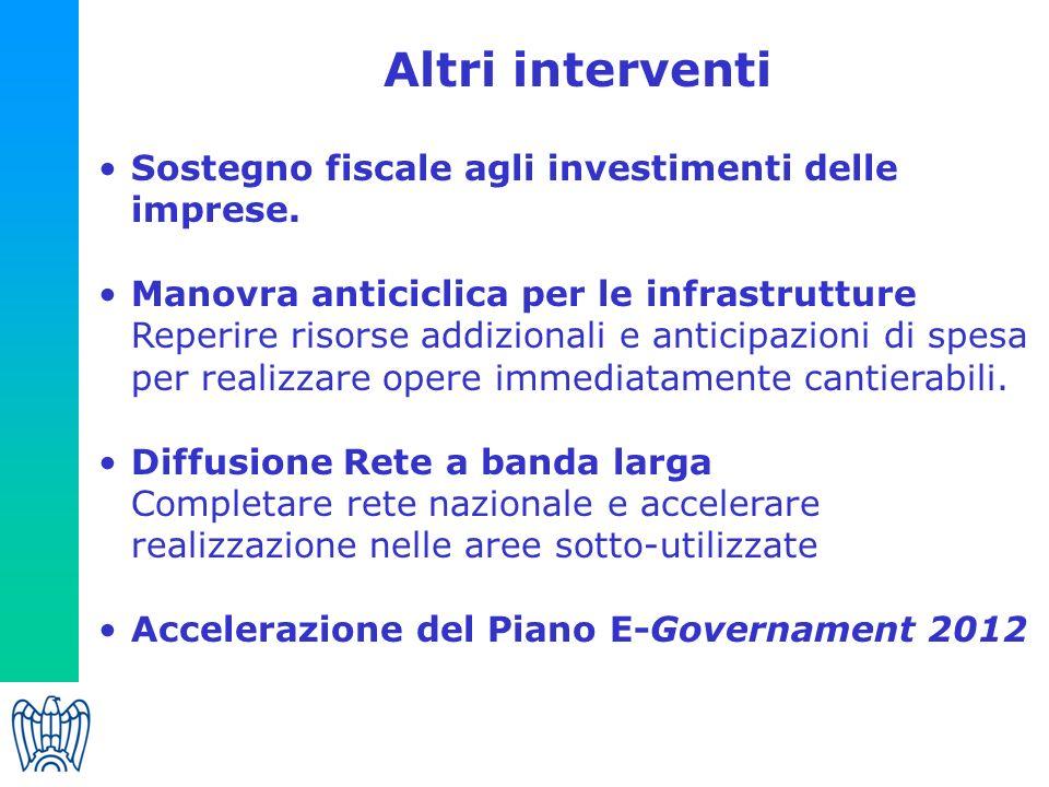 Altri interventi Sostegno fiscale agli investimenti delle imprese.