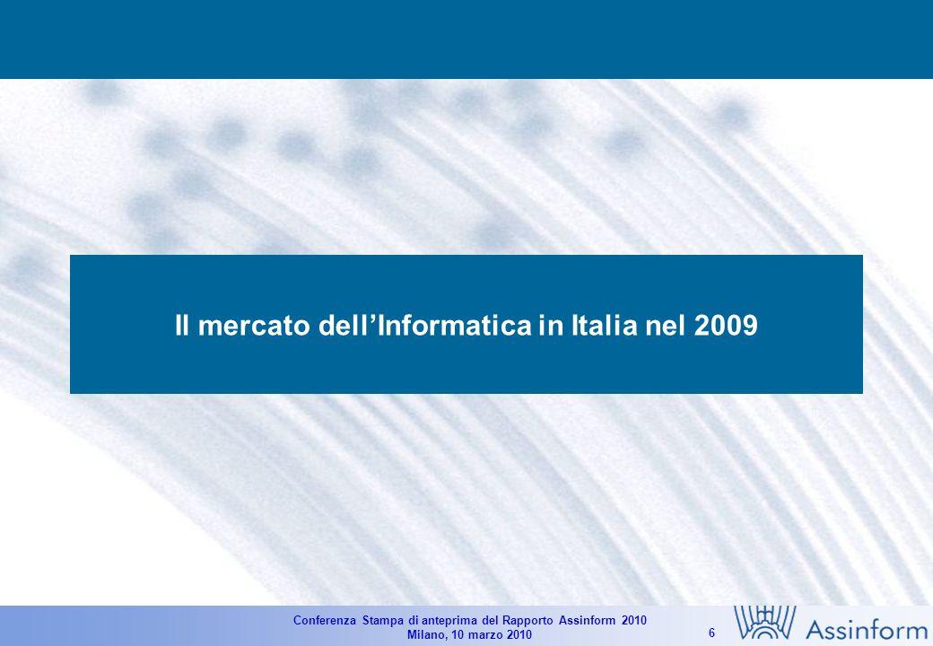 Conferenza Stampa di anteprima del Rapporto Assinform 2010 Milano, 10 marzo 2010 6 Il mercato dellInformatica in Italia nel 2009